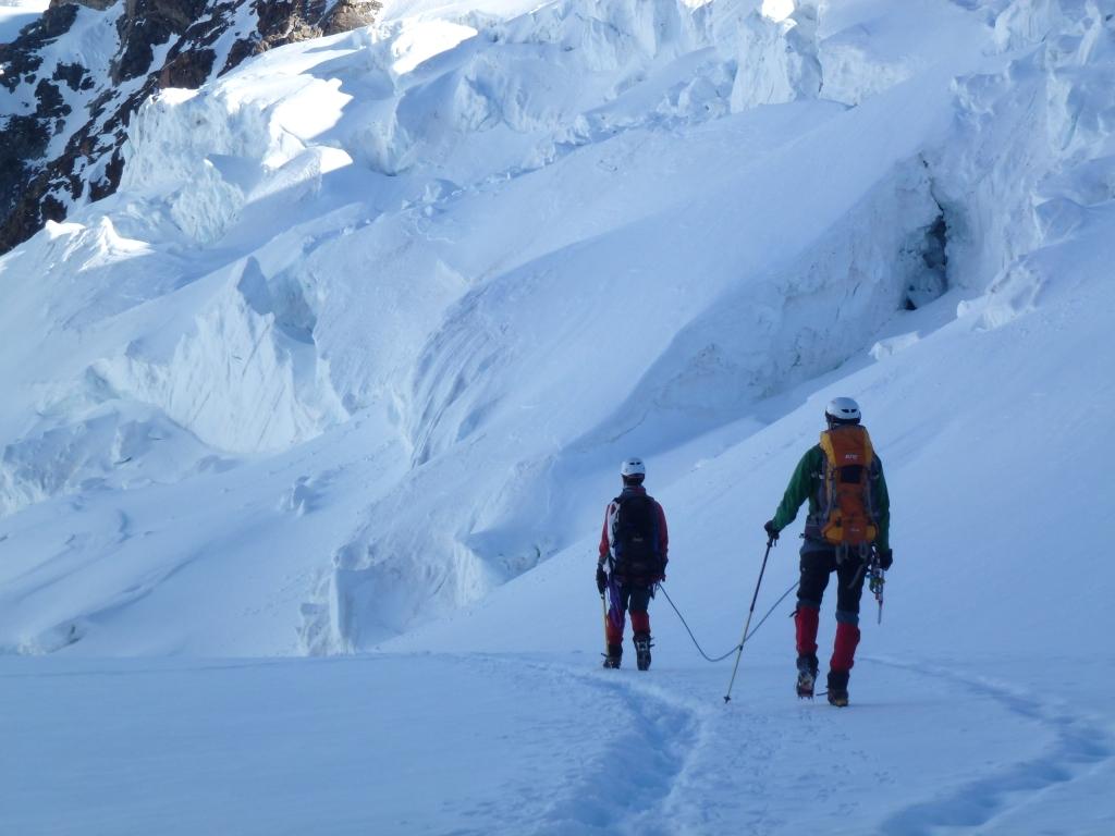 Con G. bajando el Glenzgletscher, Monte Rosa