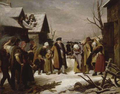Louis XVI distribuant des aumônes aux pauvres de Versailles pendant l'hiver de 1788 - Louis Hersent - Musée de Versailles